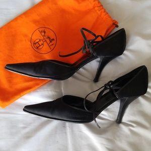 032a71c1b6d5 Hermes Shoes - Rare! HERMES Silk Leather Black Ankle Wrap Heels 9